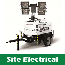 Electrical equipment for building sites to hire
